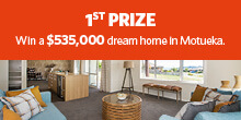 Lottery No. 102 : 1st Prize. Fully furnished Jennian dream home in Motueka.
